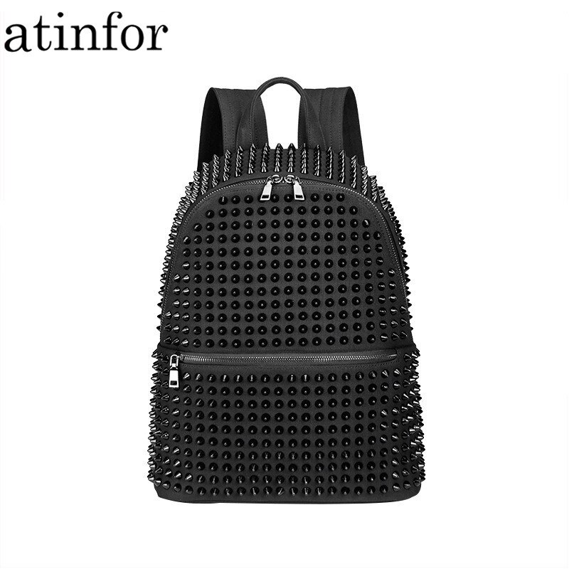 Atinfor-حقيبة ظهر نسائية من القماش ، مضادة للسرقة ، برشام ، أسود ، حقيبة مدرسية للبنات ، بانك ، رائع ، للسفر ، مع سحاب