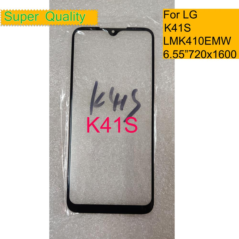 10 unids/lote para LG K41S LMK410EMW LM-K410EMW pantalla táctil Pantalla táctil frontal lente frontal de cristal exterior para LG K41S cristal LCD