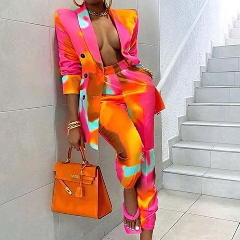 Two Piece Blazer Suit Women Office Set Fashion Print Tie Dye Suits Elegant Casual Street Wear Long Sleeve Slim Long Pants Outfit