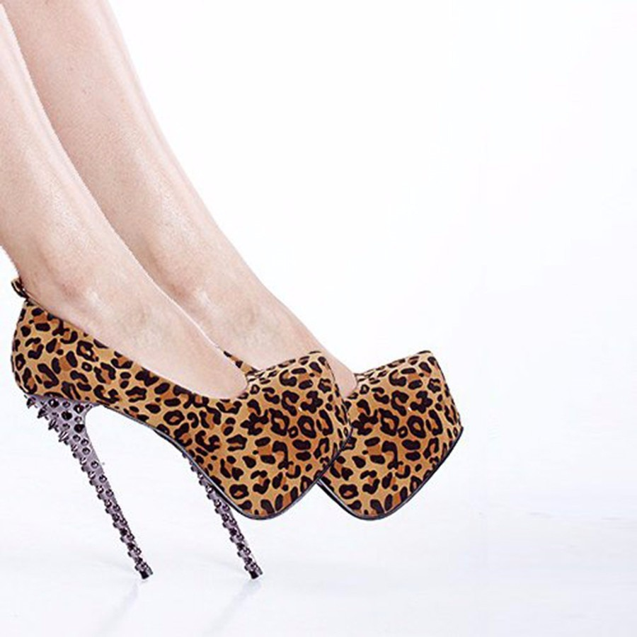 Women's Pumps High Heels Rivet Leopard Party Sandals Sheepskin Genuine Leather Pumps Thin Heels Sandalias Mujer Platform Shoes