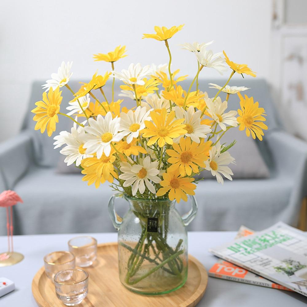 aliexpress.com - 5Pieces Artificial Flowers Silk Daisy Bridal Bouquet Vase for Home Wedding Garden Decoration DIY Gifts Fake Plants Accessories