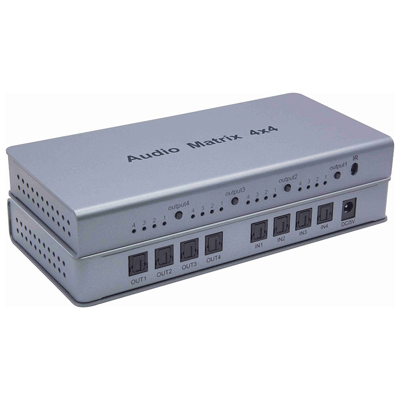 Digital Audio Matrix Optical Audio Matrix 4X4 Switch Converter Splitter Box for TV DVD Player Amplifier Meeting-EU Plug