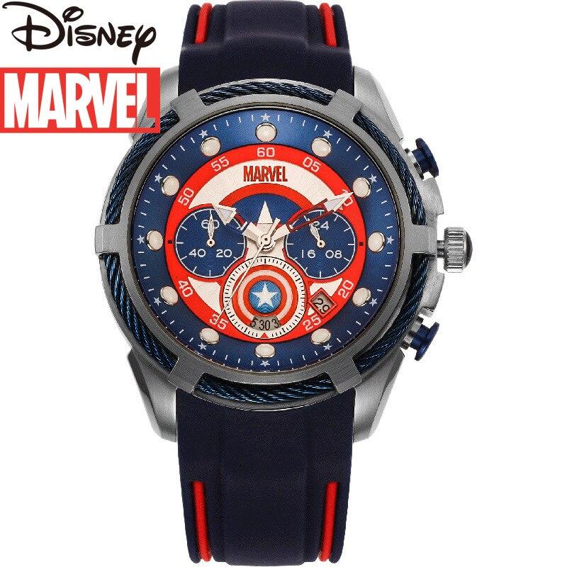 Disney 2021 New Silicone Strap Marvel Watch Men's Quartz Casual Calendar Week Small Three-pin Luminous Waterproof