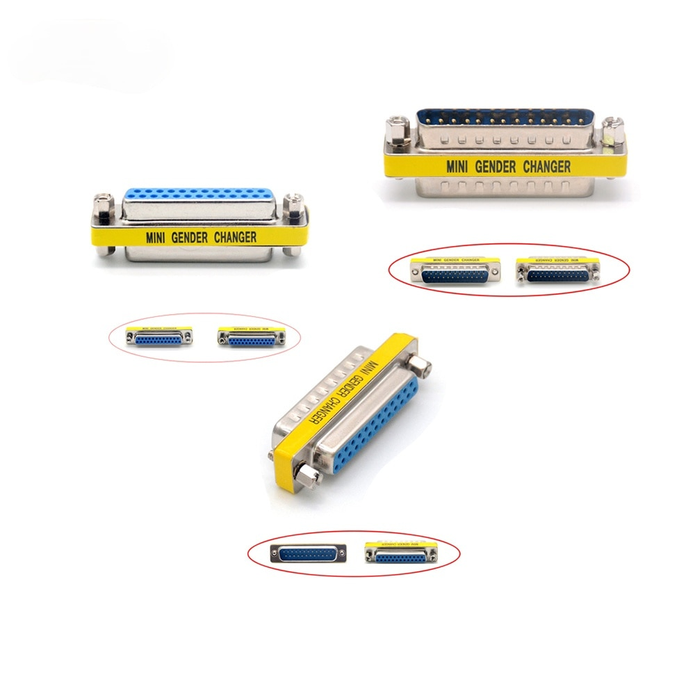 DB25 D-Sub 25pin Connector Mini Gender Changer Adapter RS232 Serial Connectors Male To Male Female To Female Female To Male недорого