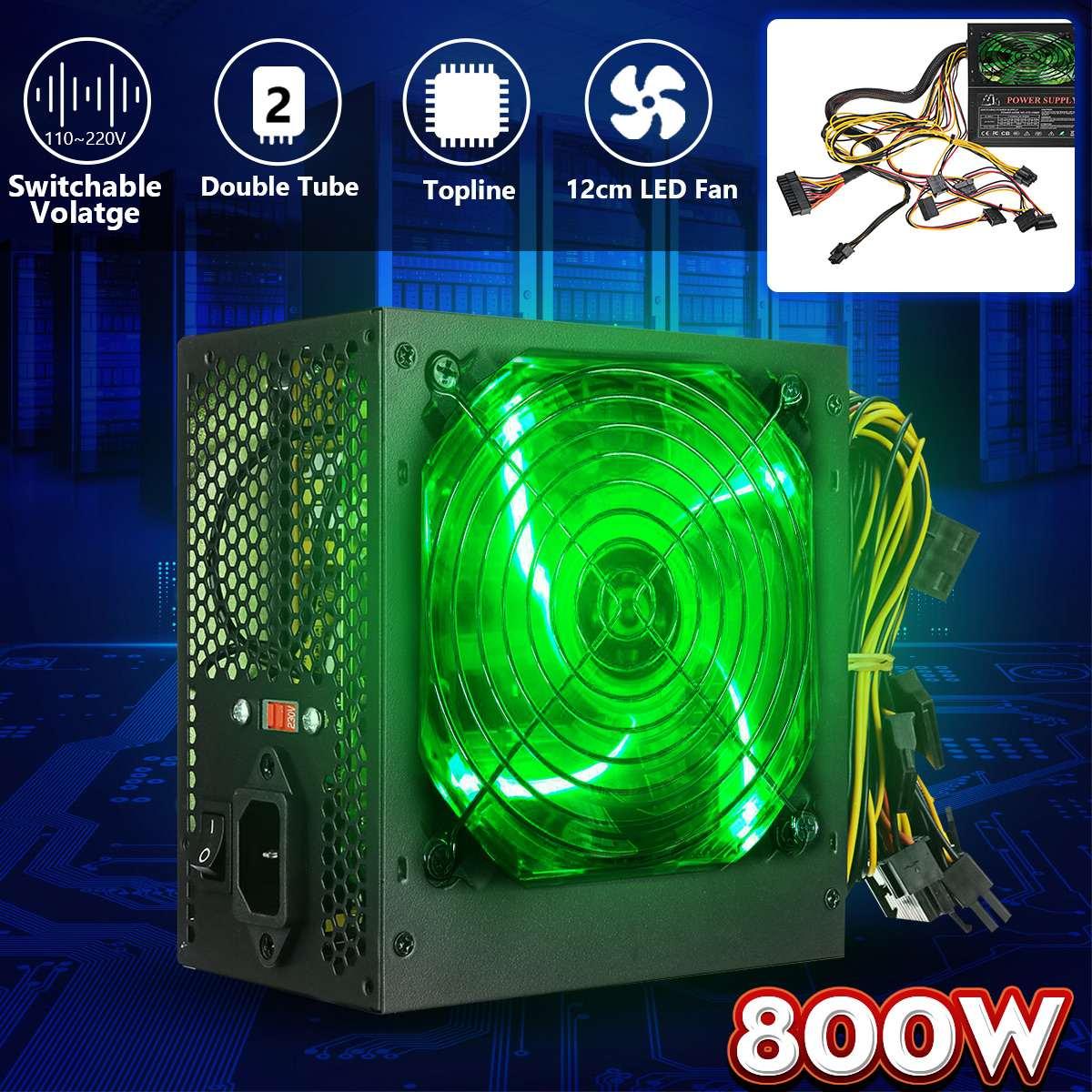 800 واط 220 فولت الكمبيوتر امدادات الطاقة 12 سنتيمتر LED مروحة كاتمة للصوت مع التحكم الذكي في درجة الحرارة إنتل AMD ATX 12 فولت ل كمبيوتر مكتبي