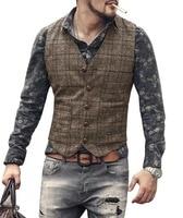 Мужской костюмный жилет, коричневый, черный жилет, мужская клетчатая куртка в стиле стимпанк, полосатый твидовый Приталенный жилет с V-образ...