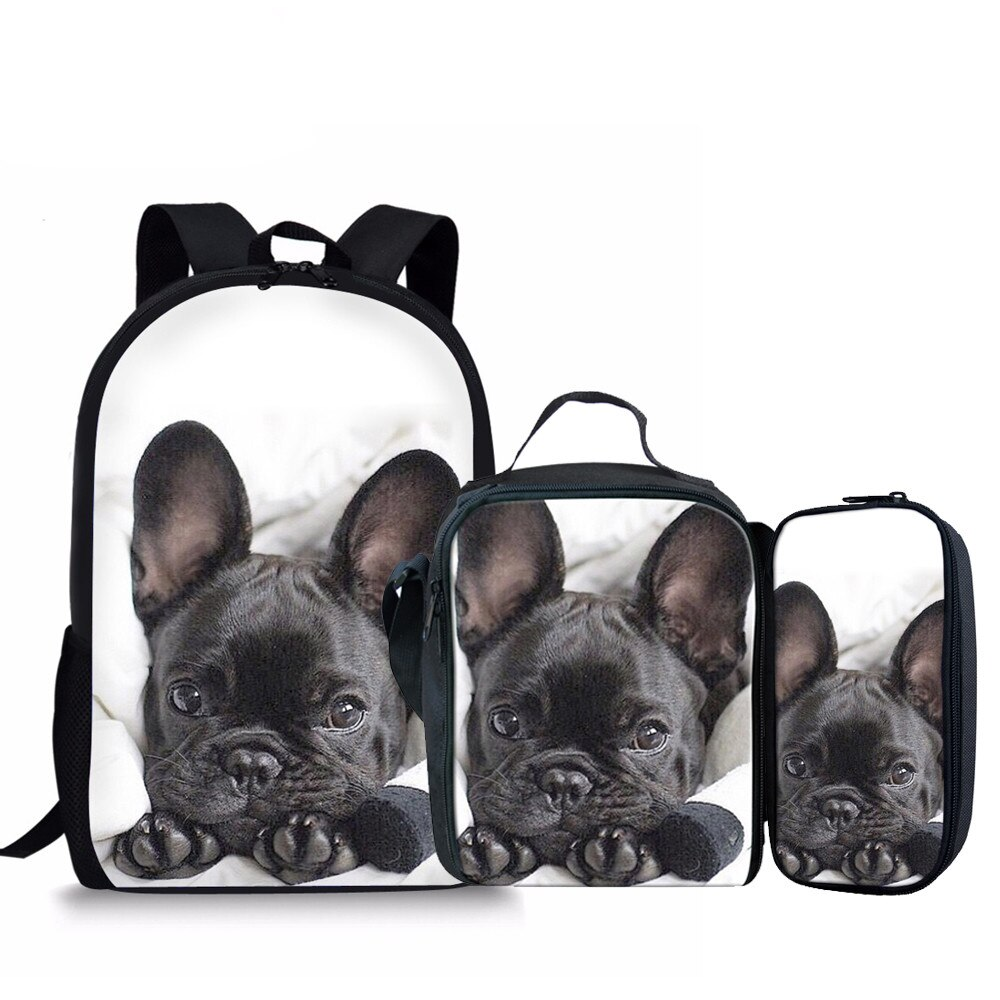 3Pcs/Set Children School Bags for Kids French Bulldog Shoulder Bagpack Girls 3D Printing Schoolbag Students Primary Bags