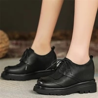 lace up oxfords shoes women genuine leather wedges high heel riding boots female round toe chunky platform pumps casual shoes