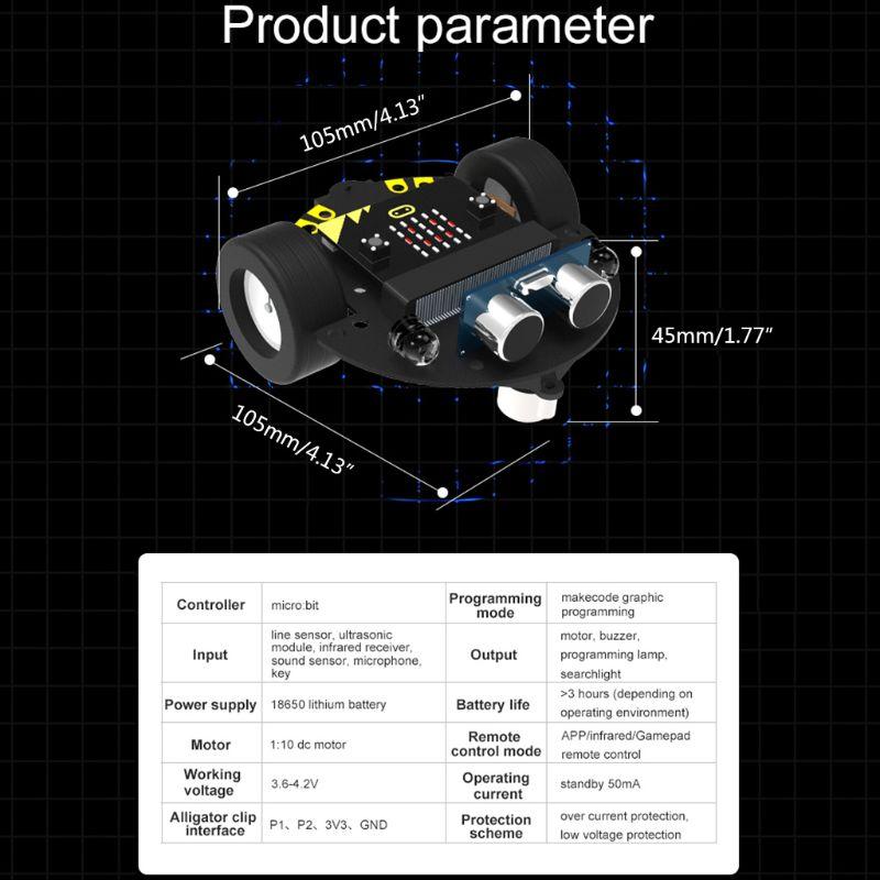 1 مجموعة مايكرو: بت البرمجة الرسومية روبوت منصة محمولة سيارة ذكية V4.0