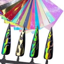 Autocollants ongles flamme 400 flammes/16 feuilles   Feu Nail Art Design collant retour   Quantité en vrac 16 pièces flamme ongles décalcomanies Stickes