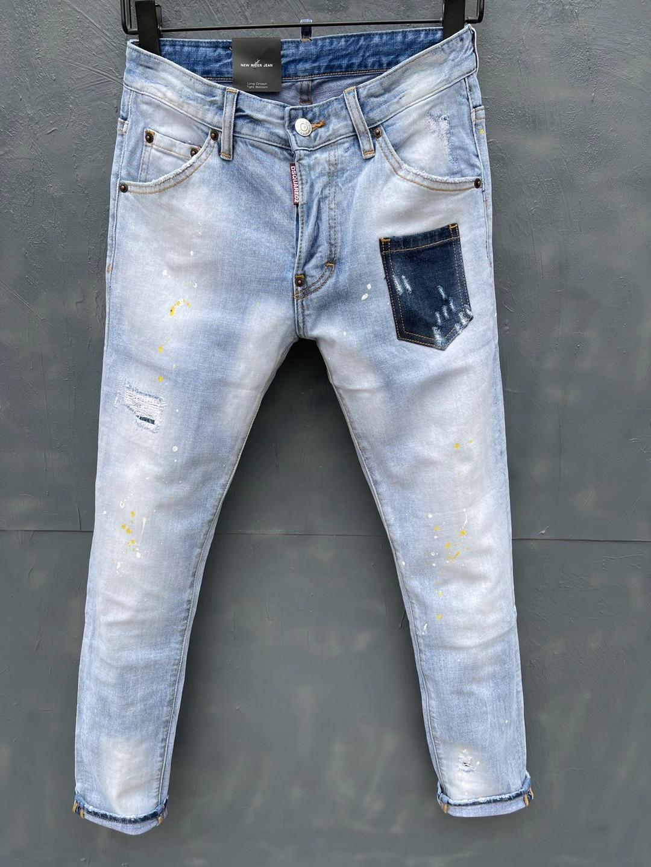 Новинка весна-лето 2021, мужские/женские светлые джинсы DSQUARED2, модные облегающие эластичные брюки с эффектом потертости DSQ2 030