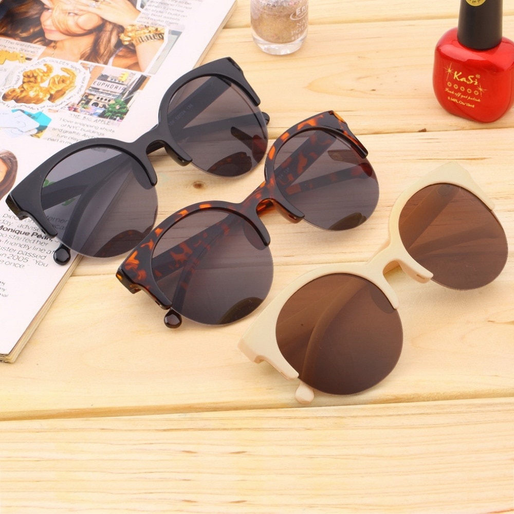 Fashionable Unisex Classic Round Shape Circle Frame Semi-Rimless Sunglasses Eyewear Outdoor Men Wome