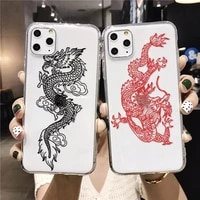 fashion dragon phone case for iphone 11 pro 12 mini xs max xr se2020 8 6 7 plus animal soft tpu transparent cover fundas
