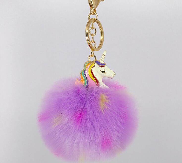 Llavero con unicornio de alta calidad de Anime Horse Toy, lindo llavero con unicornio de peluche colgante para mujer, pompón de piel esponjosa, llavero con bolsa, juguete de peluche colgante