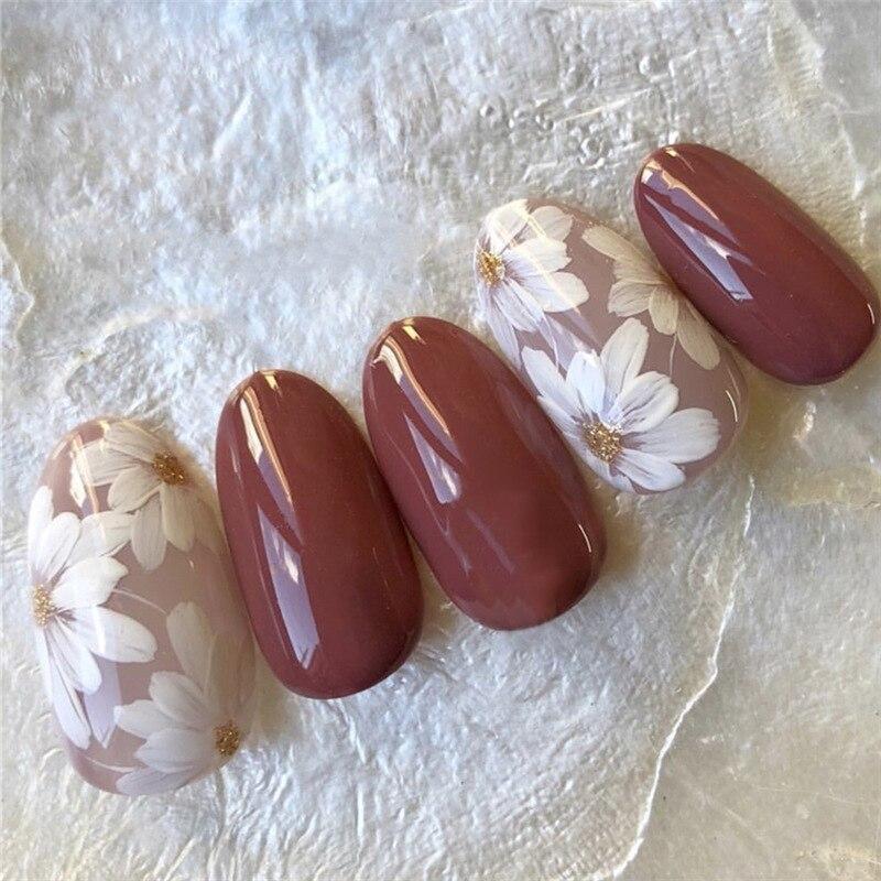24 unids/set verano flor blanca uñas postizas diseño corto pálida malva Prensa en puntas de uñas completas uñas artificiales novia herramientas