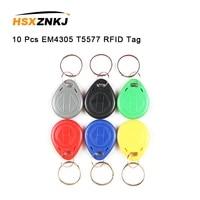 10 pcs random colors em4305 t5577 duplicator badge copy 125khz rfid tag llavero porta chave card sticker key fob token ring