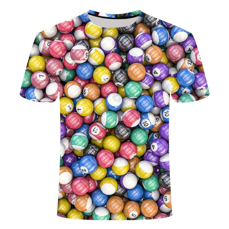 Дропшиппинг 3D печатная Футболка мужская и женская модная футболка с круглым вырезом и коротким рукавом бильярдная футболка Золотая спортивная одежда 5XL
