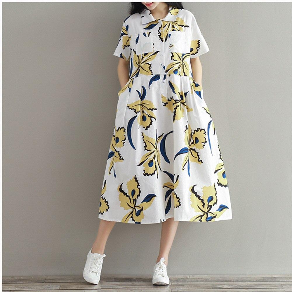 Supermiss Women Linen Summer Dress Turndown Collar Midi Button Printed Female 2020 Spring Dress Plus Size Loose Casual Vestidos