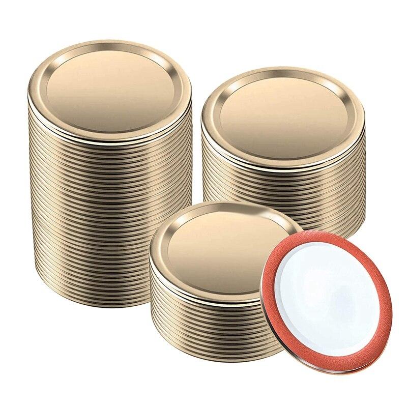 150 قطعة العادية الفم تعليب الأغطية ل الكرة ، كير الجرار ، سبليت من نوع المعادن ميسون أغطية عبوة للتعليب (70 مللي متر ، الذهب)