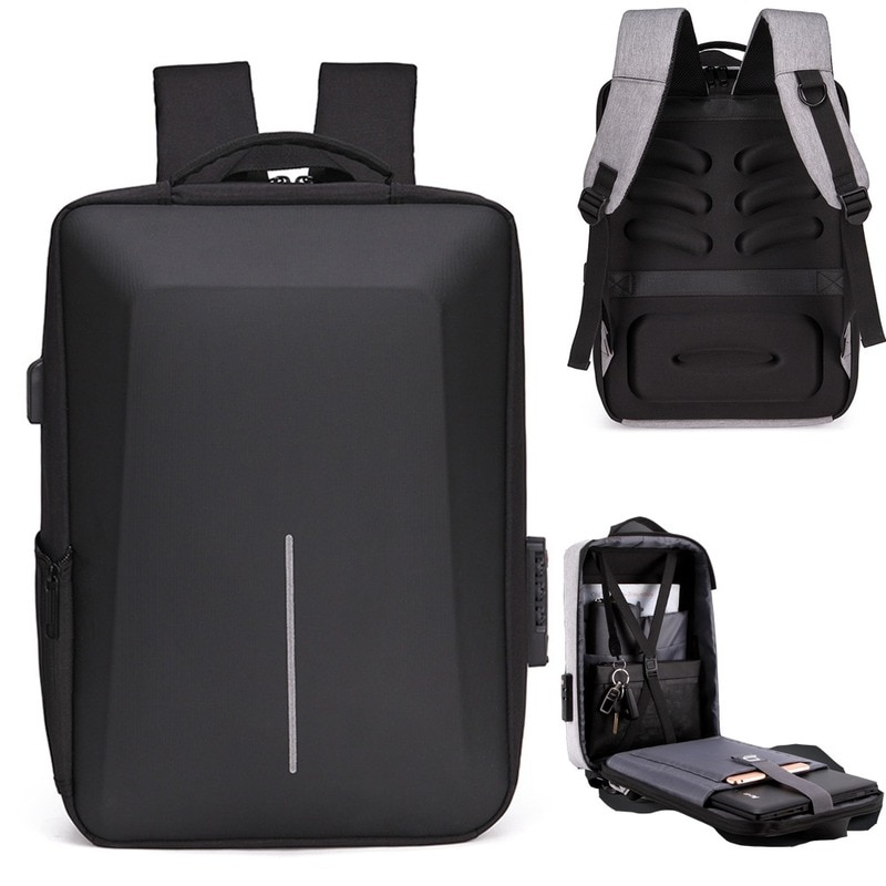 Mochila para ordenador portátil para hombre, bolsa de viaje, escolar, tira reflectante,...