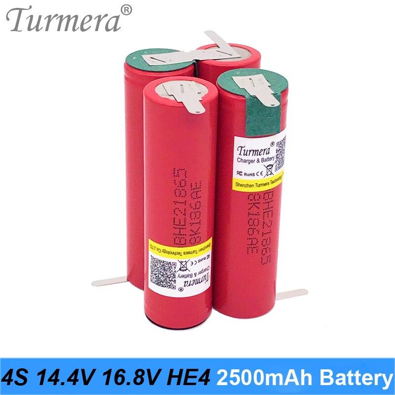 4S 14,4 V 16,8 V Paquete de batería de litio de 18650 HE2 2500mah 20A 35A corriente de descarga para destornillador de la batería y shurik (personalizar)