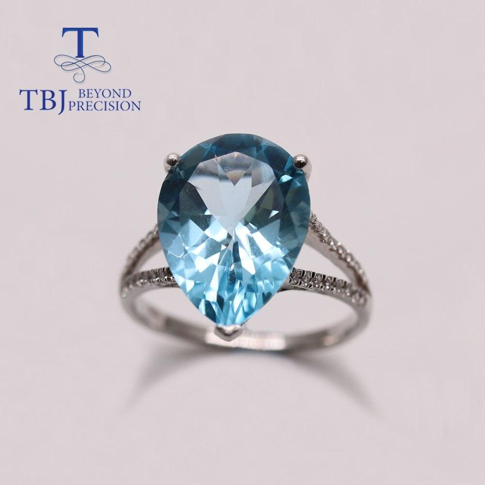 TBJ 10CT الطبيعية السماء الزرقاء توباز الكمثرى 12*16 مللي متر خواتم الأحجار الكريمة 925 فضة النساء ارتداء اليومي غرامة مجوهرات