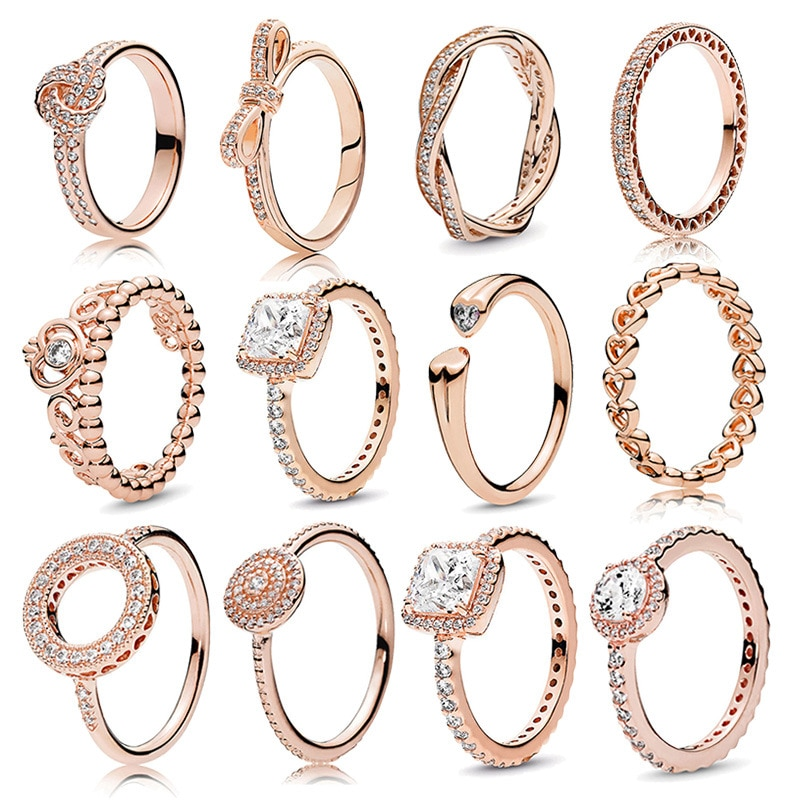 New Fashion Luxury Ring Jewelry 18K Rose Gold Crown Round for Ladies Engagement Wedding Party Anniversary Gift