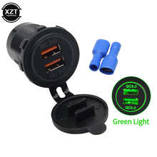 Dual QC 3.0 Power Socket Car Quick Charger Double USB Vehicle DC12V-24V Waterproof 2 Ports Charging For iPhone Android