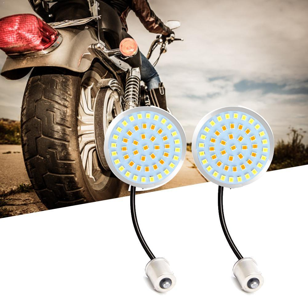Motorcycle Bullet Amber LED Turn Signal Light 1156 Inserts Lens Cover For Sportster XL Electra Tri Glide Softails FLSTF w