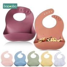 Bopoobo-babero ajustable con imagen de Animal para bebé, Baberos impermeables con goteo de Saliva, toalla de Saliva de silicona comestible suave, bufanda para bebé