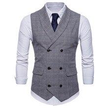 Marque costume gilet hommes veste sans manches Beige gris marron Vintage Tweed gilet mode printemps automne grande taille gilet