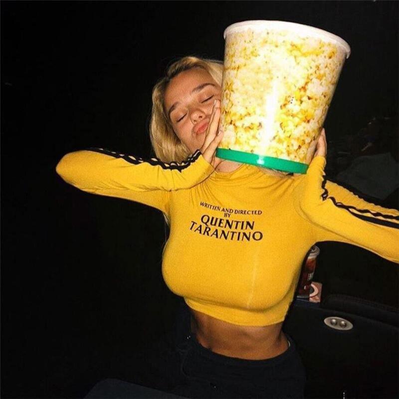 Camiseta amarilla Sexy para mujer, a la moda, Quentin Tarantino, con raya lateral, manga larga, cuello de tortuga, corta, de punto, para mujer