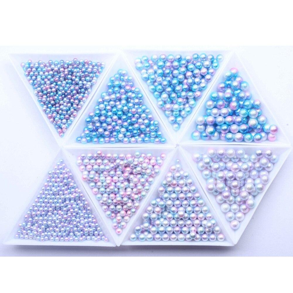 1000 Uds 3-6mm sin Hotfix ronda sirena gradiente Color perla corte de estrás accesorios de libro de recuerdos para joyería decoración artística de uñas G