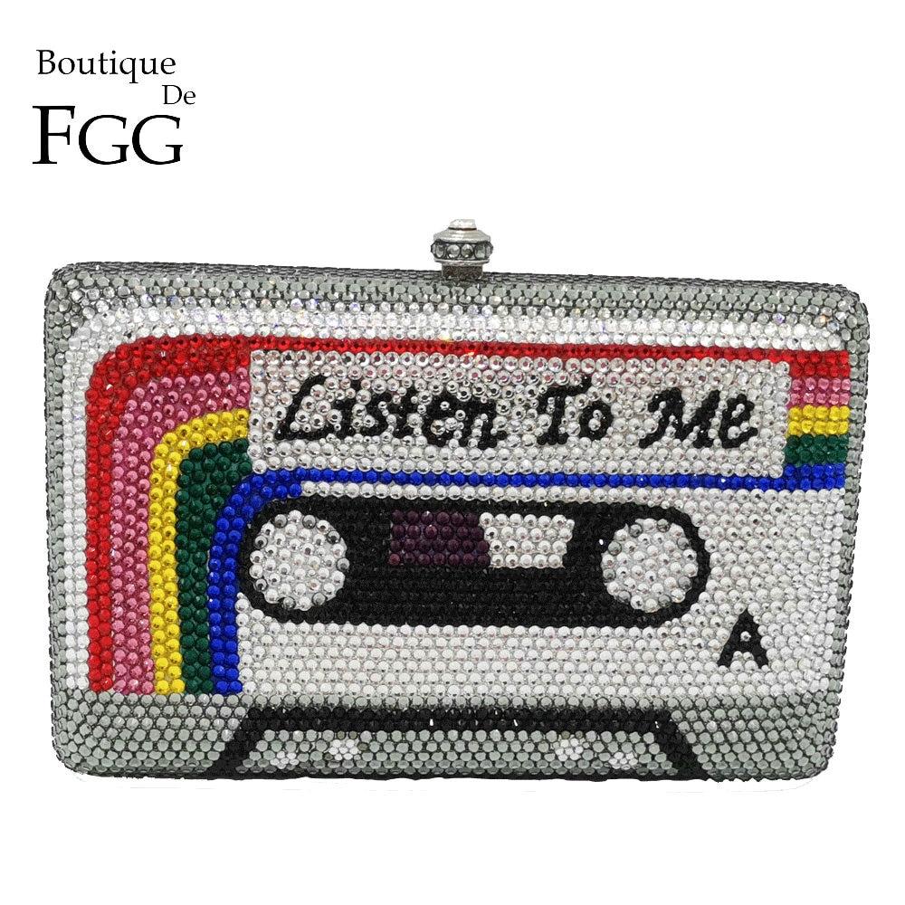 Boutique De FGG Listen2ME-حقيبة يد نسائية من الكريستال ، حقيبة سهرة ، صندوق ماسي ، حقيبة يد صغيرة ومحفظة