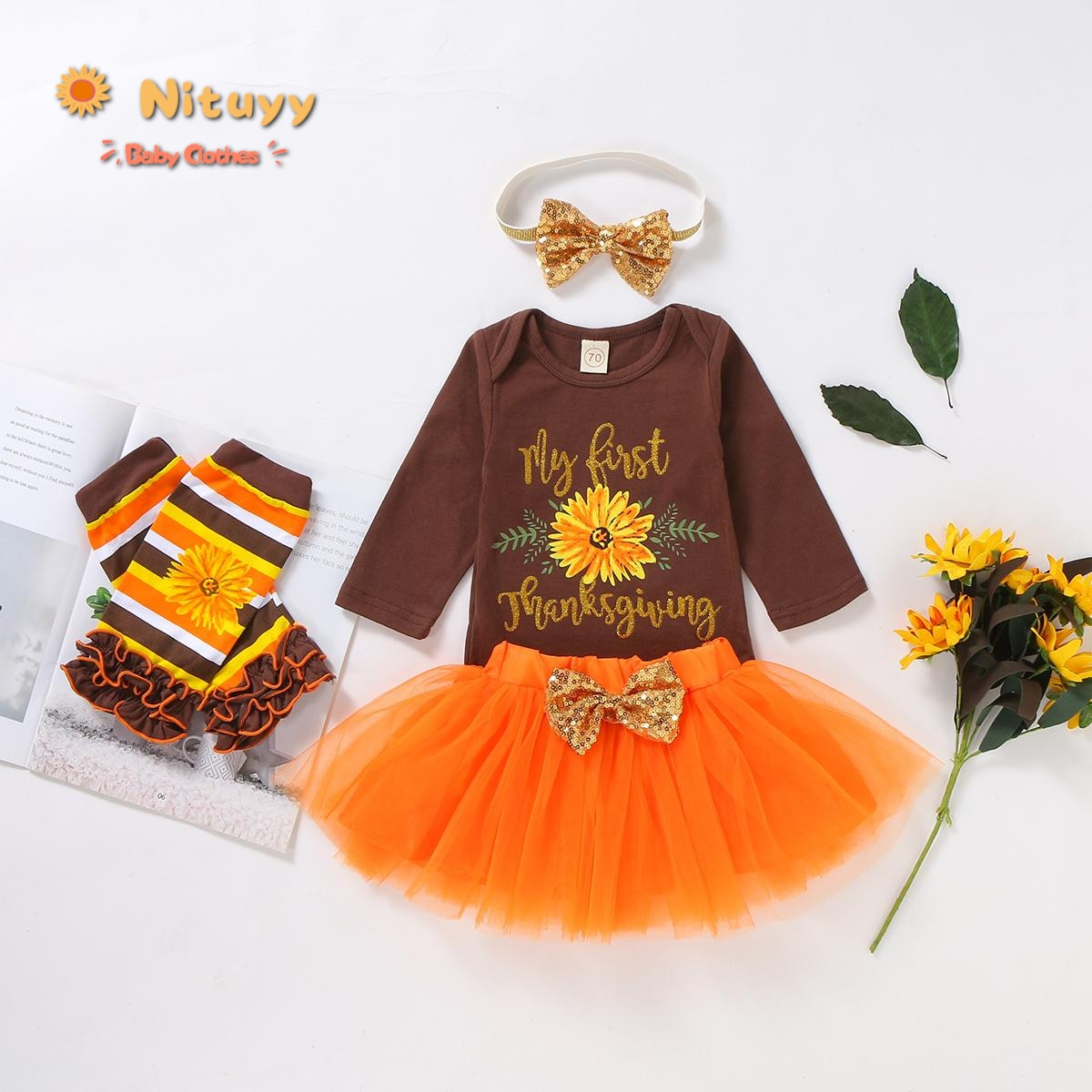 2020 1er traje de Acción de Gracias bebé niña niño 4 Uds letra estampado de girasol manga larga Top body Tutu falda de malla gorro calentador