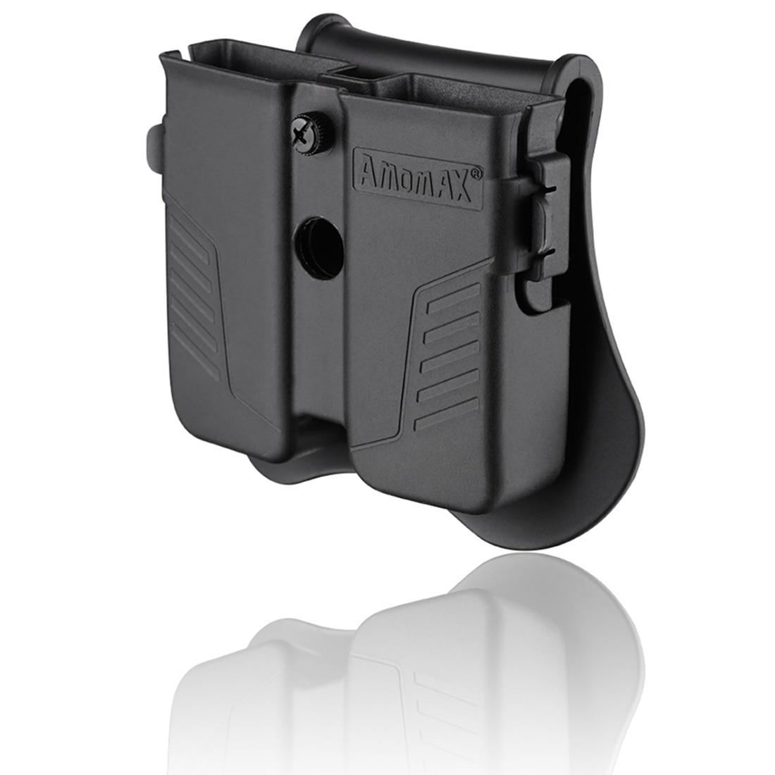 Estuche de Revista de caza doble táctica de Amomax para revistas universales de doble pila de calibre 9mm. 40. 45-Negro
