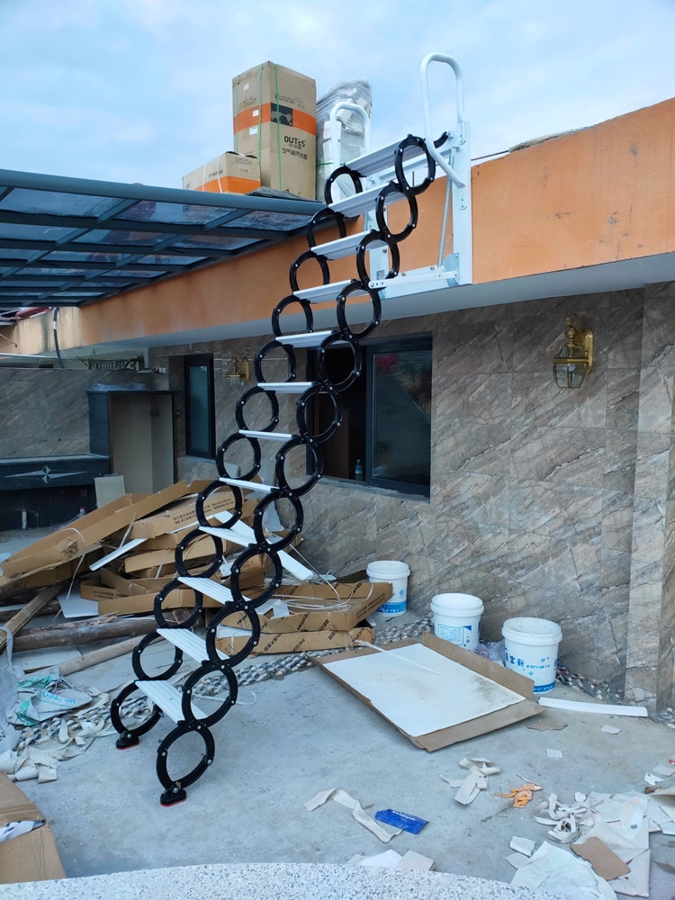 Wall-mounted household ladder platform stairs contraction villa small stretch the stairs 2.1 2.5 meters