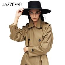 JAZZEVAR 2019 yeni varış sonbahar trençkot kadın pamuk yıkanmış uzun kruvaze siper gevşek giyim yüksek kaliteli 9013-1