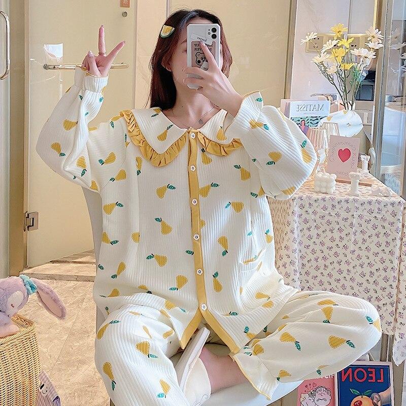 2020 Confinement Clothing Autumn & Winter Sandwich Cotton Extra-large Pregnant Women Pajamas Postpartum Warm Nursing wei nai yi enlarge