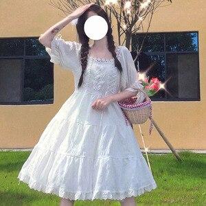 2021 Summer  Kawaii  Dress Women Japanese Sweet Princess Style Splicing Lace Design Bow Cute Dress Hige Waist Cake  Dress