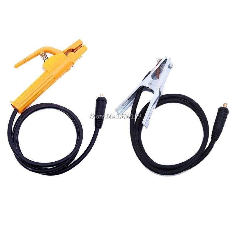 2 unids/set 500A 2M abrazadera del soporte del electrodo 300A 1,5 M abrazadera de tierra con Cable conector accesorios de la máquina de soldadura Dropship