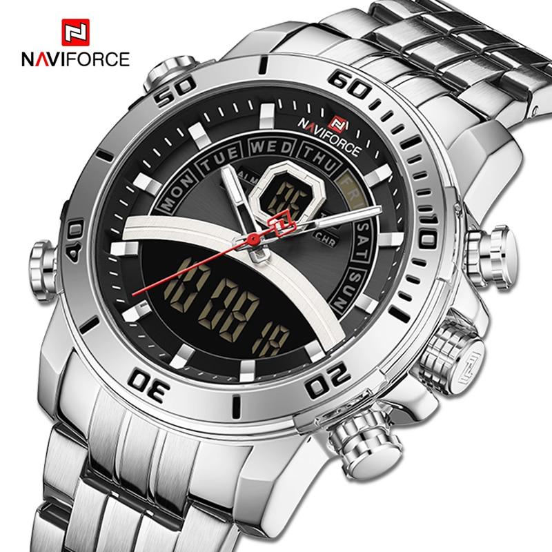 Reloj de pulsera de cuarzo militar deportivo Digital de marca de lujo NAVIFORCE para hombre, reloj luminoso resistente al agua, reloj Masculino
