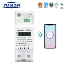 Vita Intelligente Tuya Monofase su Guida Din Wifi Smart Contatore di Energia Timer Consumo di Energia Monitor Kwh Metro Wattmetro 220V 50/60Hz