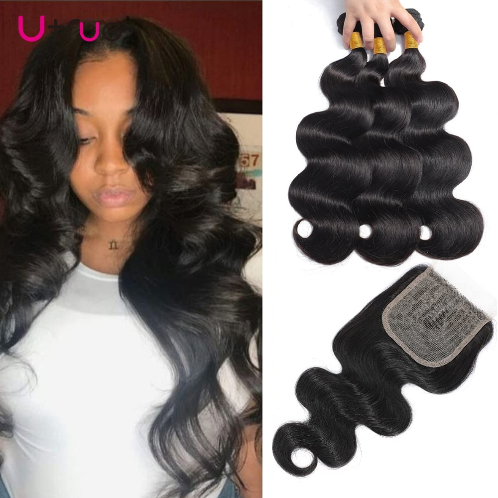 Body Wave Bundles With Closure Brazilian Human Hair 3 Bundles Natural Weavon Weave Bundles Hair With Closure