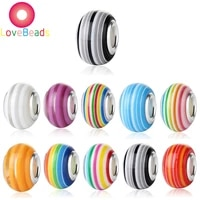 10 pcs color stripe rainbow beads murano charms large holes loose spacer beads fit pandora bracelet necklace snake chain jewelry