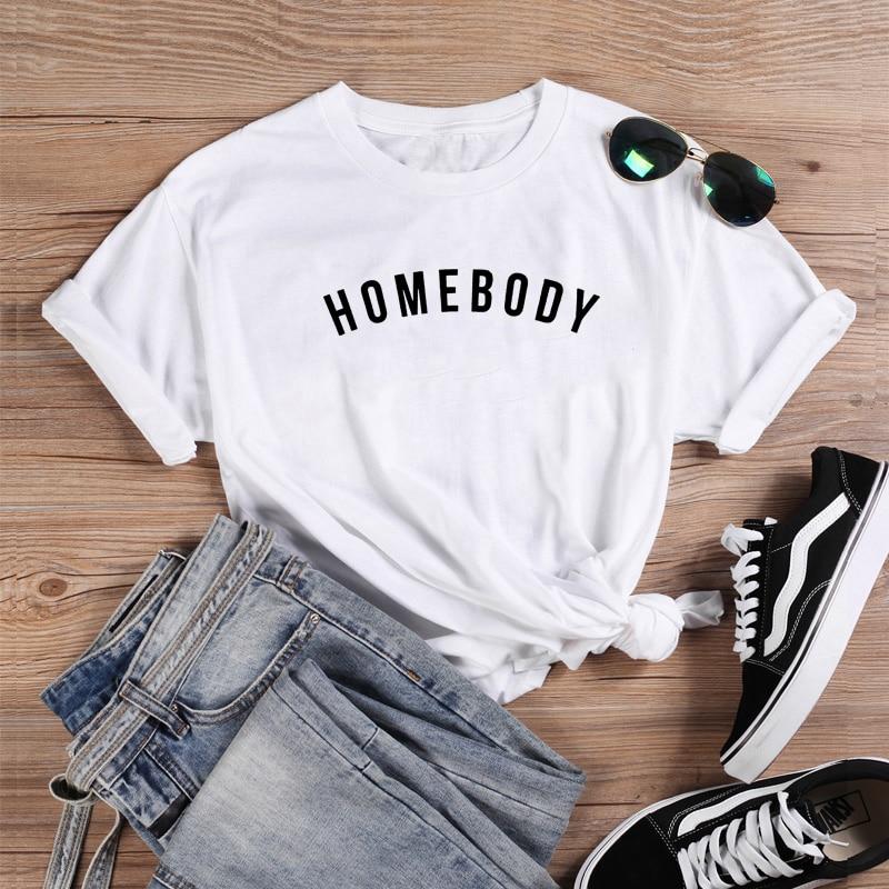 Camiseta divertida Homebody, camiseta de manga corta con cuello redondo de verano para mujer, camiseta informal, Camiseta holgada de algodón para mujer, camiseta Topmme
