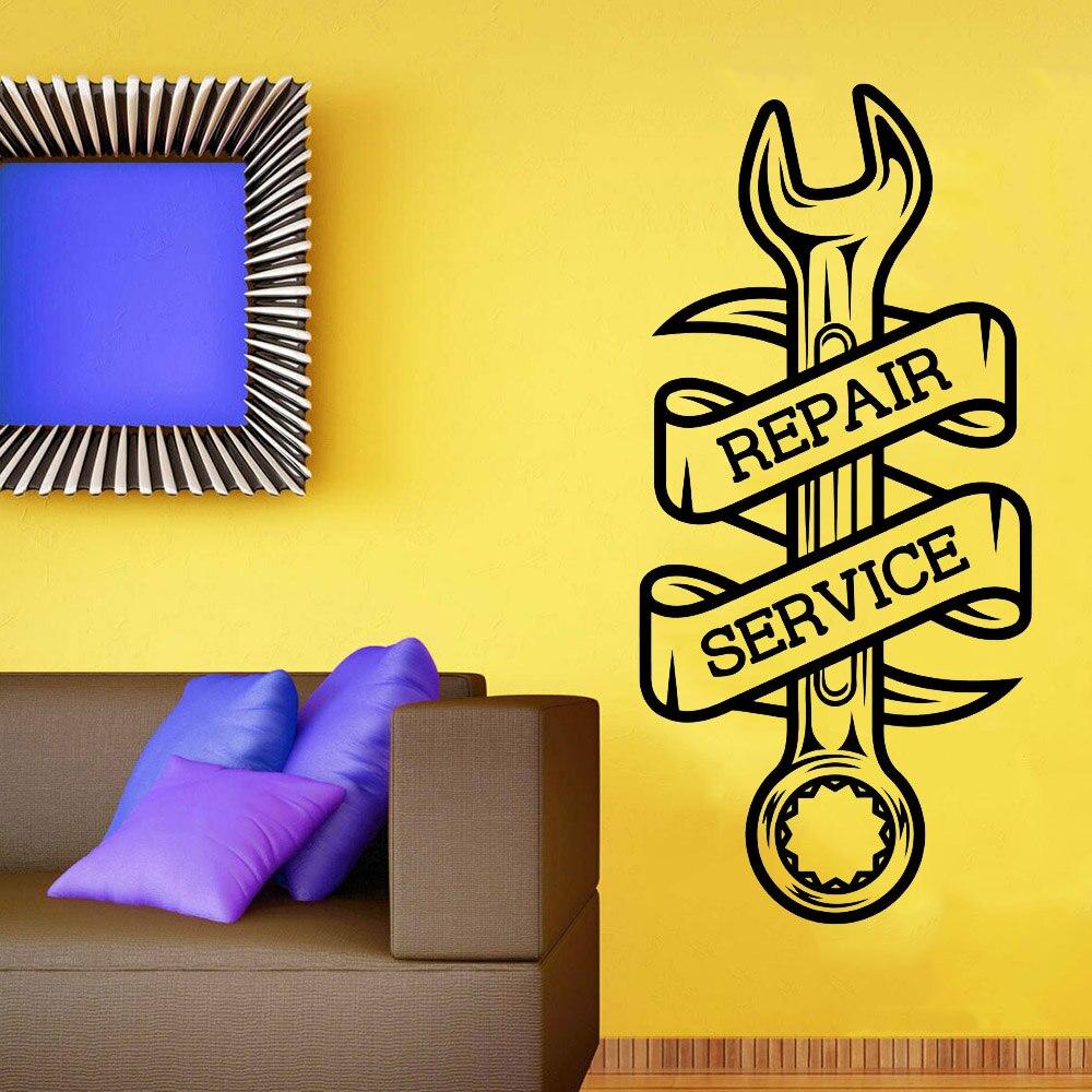 Garagem adesivos de parede chave reparação serviço oficina sinal papel arte decoração da parede vinil decalques sala estar decoração casa y438