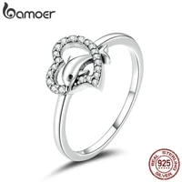 bamoer s925 sterling silver dolphin with heart cz bubble finger rings for women engagement wedding statement jewelry scr671