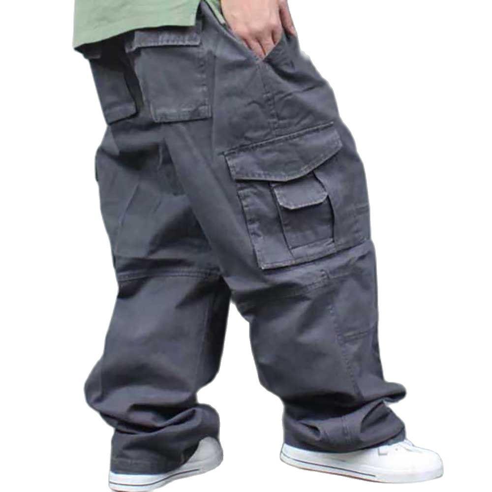 سراويل واسعة الساق هيب هوب للرجال غير رسمية من القطن حريم البضائع بنطلون فضفاض فضفاض ملابس الشارع الشهير حجم كبير جوجرس الرجال الملابس