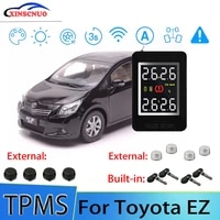 smart car tpms tire pressure monitor system for toyota ez with 4 sensors wireless alarm systems lcd display tpms monitor